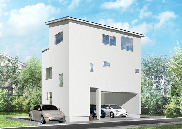 笠舞モデルハウス外観イメージ3階建て